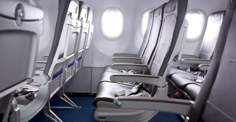 Rows of slimline seats aboard Lufthansa