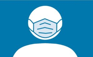 Blue background with white circle depicting a human head masked with a blue mask.