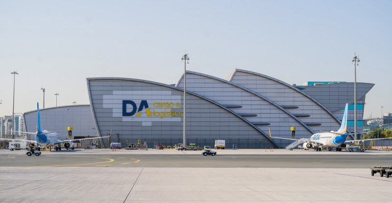 Dubai International Cargo and Logistics building with aircraft parked out front