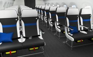 Z110i cabin digital mock up showing black and light grey slimline seats.