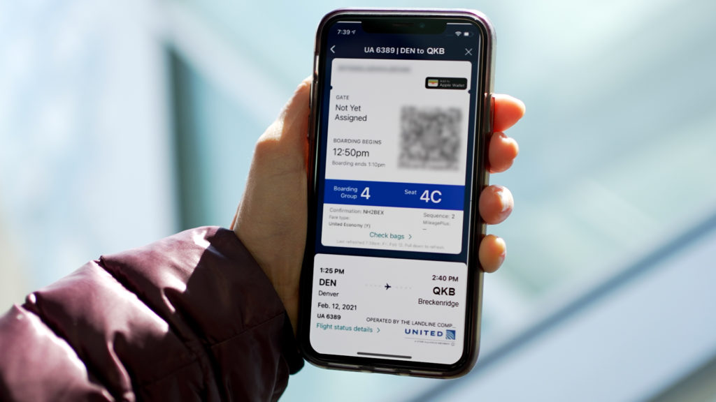 Boarding pass visiable on a passengers mobile device.