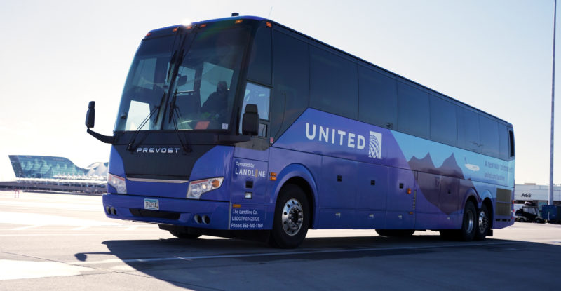 United Airlines Blue Bus departing the airport