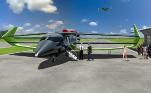 The BEHA, as conceived, features a triplane wing for maximum lift and substantial endplate fins. A computer-generated rendering of the aircraft, in a green livery, is shown parked, as passengers climb aboard.