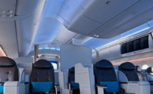 LED interior lighting example in a Boeing interior business class section.