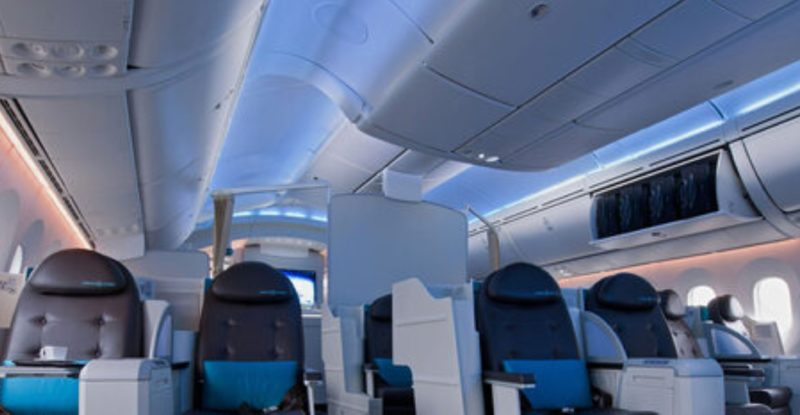 LED interior lighting example in a Beoing interior business class section.