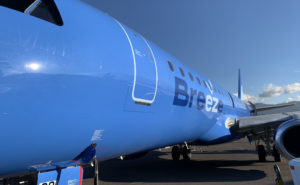 Breeze's first E190, parked, in the carrier's signature blue livery