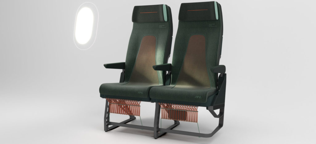 """Two green and brown economy class seats, with a white background. The seat covers have the word """"antimicrobial' on them"""