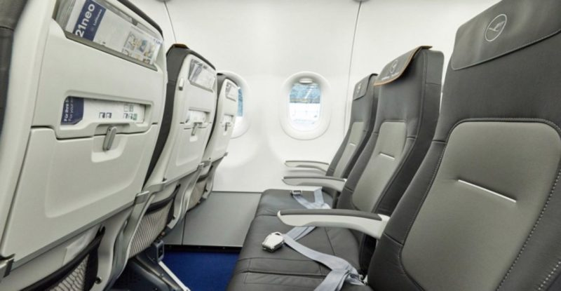 The Geven Essenza slimline, pictured here aboard Lufthansa, has traditionally sat at the lower end of Geven's passenger experience spectrum. But now Super Economy will be the low end, while Essenza moves to higher-end. Image: Geven