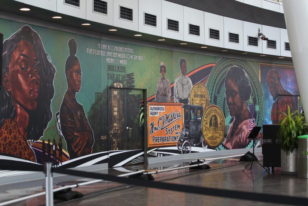 The mural is 11ft high and more than 75ft long and can be viewed at IND airport