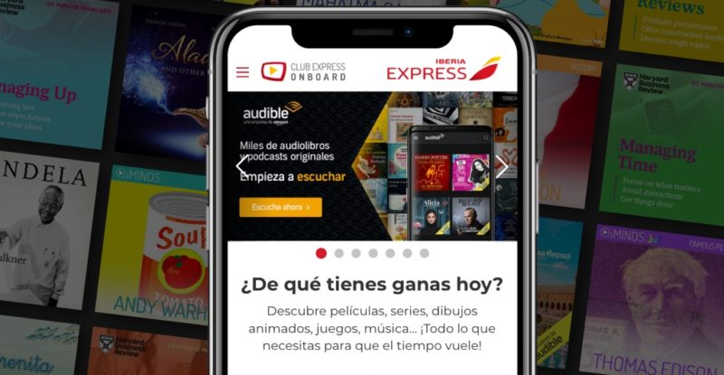 Landing page on a mobile device for Audible and words in Spanish