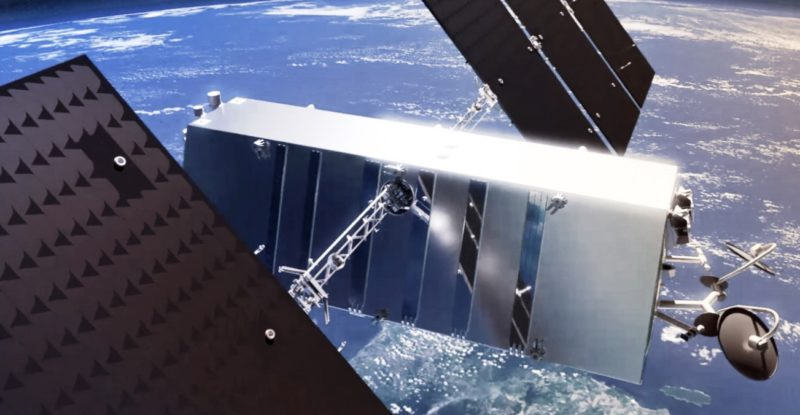 A satellite in low earth orbit, with the earth in view