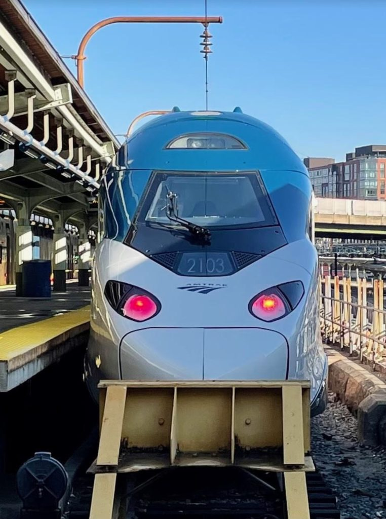 A head-on view of Acela II at the station