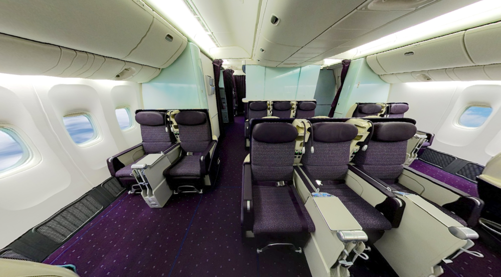 The business class cabin installed on V Australia, later Virgin Australia, with dark purple seats