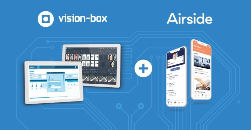 Blue background with circuit like design and an image of two tablets a plus sign and then two mobile devices. Words Vision Box and Airside displayed above them.
