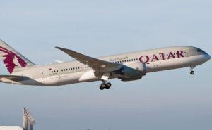 Qatar Airways aircraft inflight in a clear sky.