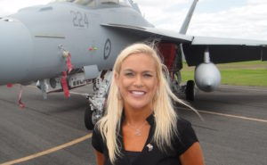 Sherri attended the final F/A-18 Super Hornet delivery ceremony at Royal Australian Air Force Base Amberley, in October 2011. She considers the event among the highlights of her career. Image: Joe Veile