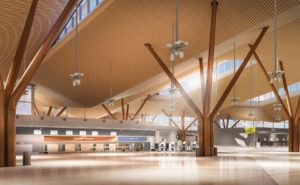 Tree-like columns and an undulating roof will be signature elements of the new terminal's interior. (Rendering courtesy of Gensler + HDR in association with luis vidal + architects)