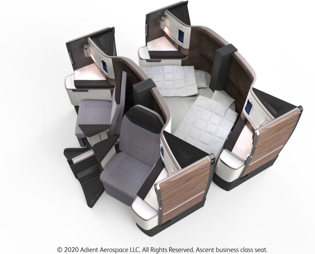 The Ascent business class seat is an outward herringbone. It offers great privacy, and even enables couples to lower a privacy divider and sleep side-by-side. Shown from above.