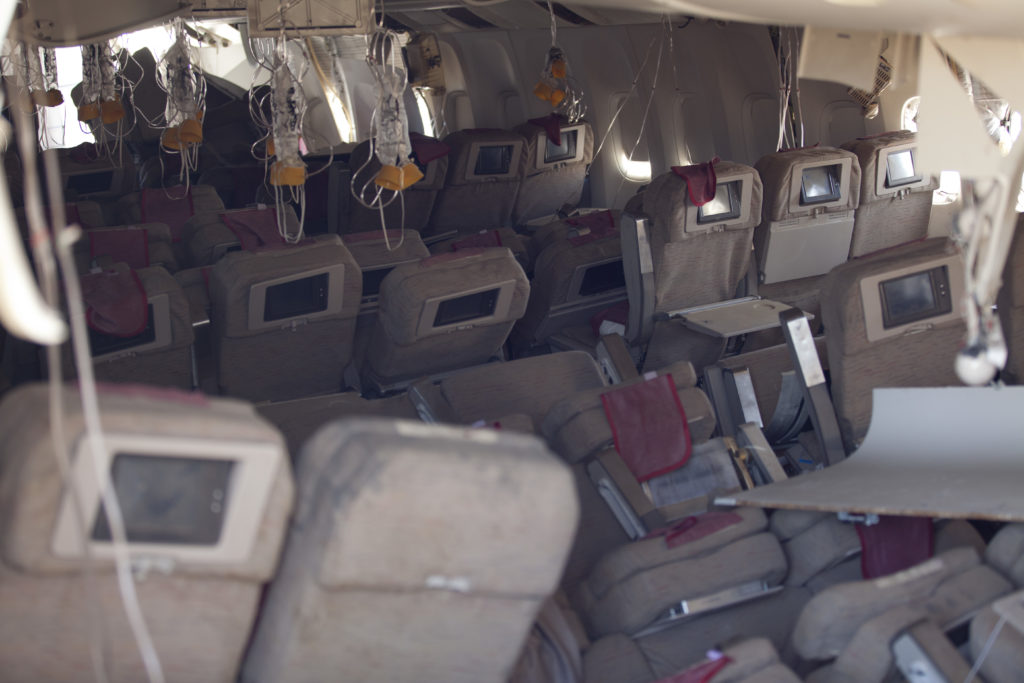 The Asiana 777 crash at SFO saw seats displaced on the tracks, as seen here, but the actual onboard hard product held up remarkably well