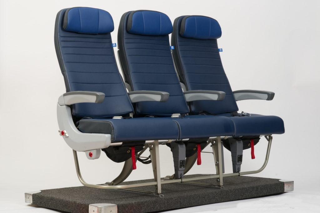 An isolated seat triple, with three blue United Airlines seats (and a white background).