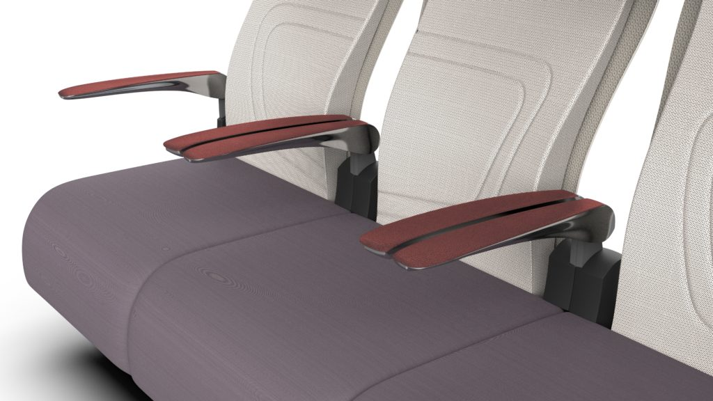 Paradym seat in cream back and grey bottom with a brown headrest and armrests. Close up view of the seat and armrests.
