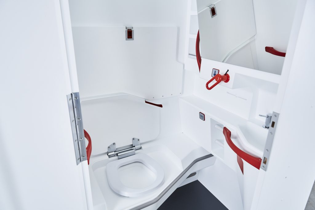 A photo of the LAV4ALL design, with color-highlighted supports and handles