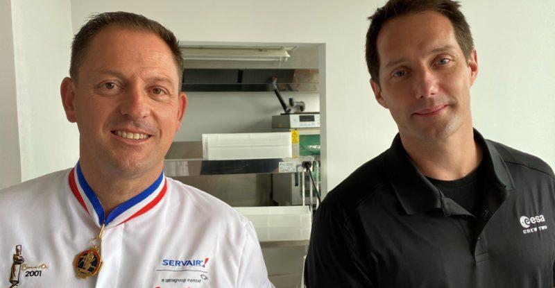Francois Adamski (L) and Thomas Pesquet (R)
