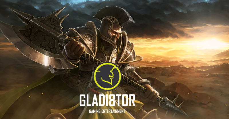 Gladiator games promotional ad showing a character on an exploding background with the Gladiator logo.