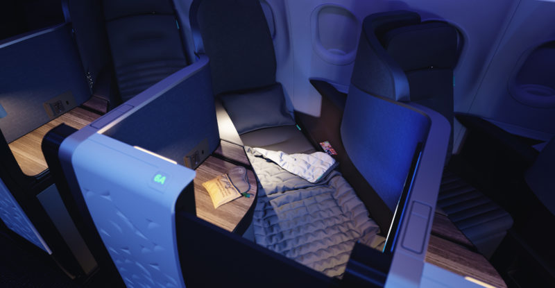 A top-down view of JetBlue's Mint Suite and bedding