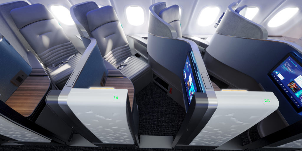 JetBlue's Mint Suites, with doors for privacy, and large IFe screens.