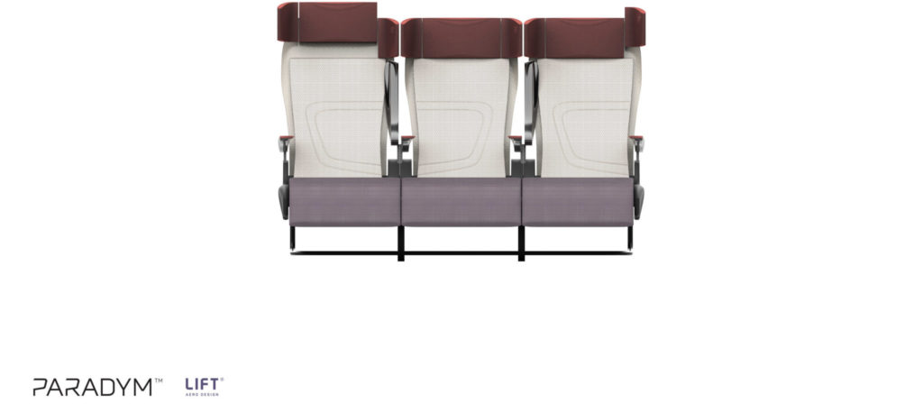 Paradym seat in cream back and grey bottom with a brown headrest and armrests. Front View of the seat triple.