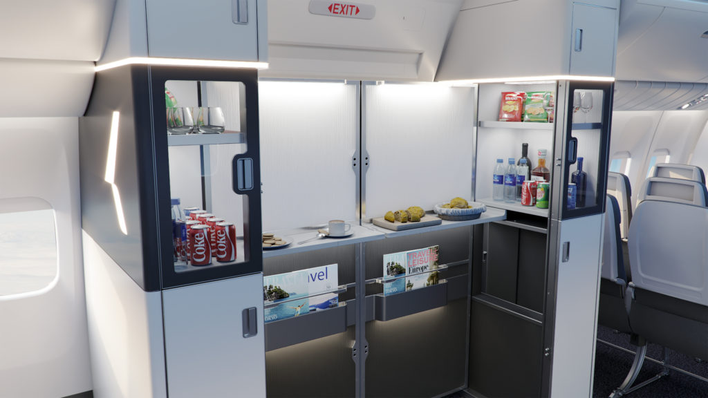 M-flex self-serve station stocked with a varitey of snacks, baked goods and beverages.