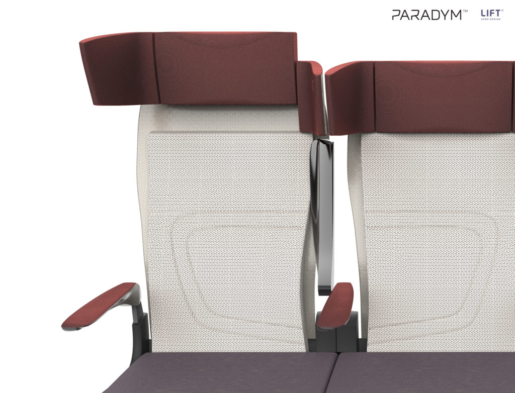 Paradym seat in cream back and grey bottom with a brown headrest and armrests. Close up front view, showing the headrest at its highest position (for tall passengers).