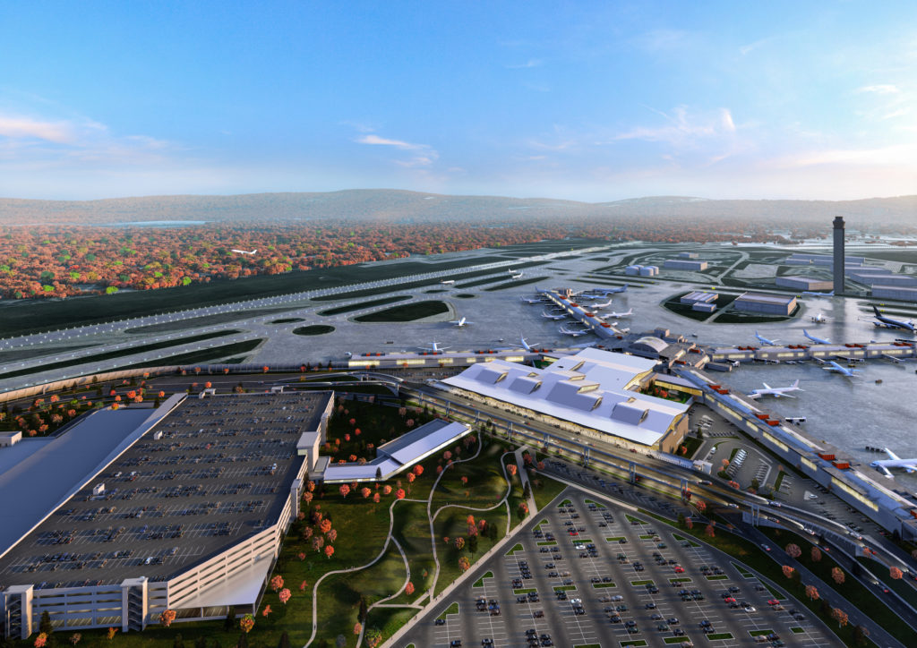 Pittsburgh International Airport's new terminal will be accompanied by a Multi-Modal Center housing parking, rental car facilities and more. (Rendering courtesy of Gensler + HDR in association with luis vidal + architects