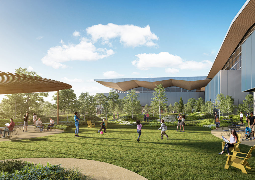 Outdoor spaces pre- and post-security will allow guests and travelers to gather fresh air and relieve crowding indoors. (Rendering courtesy of Gensler + HDR in association with luis vidal + architects