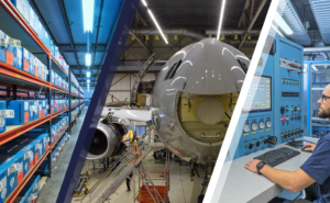 Photo divided into 3 sections. First section displays a warehouse of parts. Second section displays a aircraft in a hanger. The final photo shows a man sitting at a large computer.