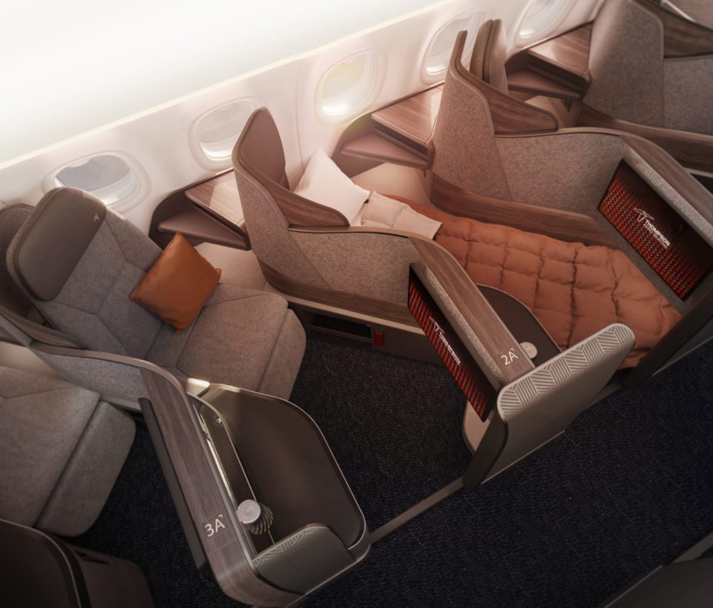 VantageSOLO, seen here in brown and grey tones, offers tremendous privacy to passengers. It can be configured with an open aisle end, a fixed privacy screen or a full function suite door, as JetBlue has selected.