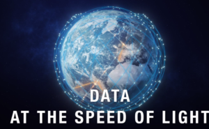 Telesat Lightspeed Animation of connectivity lines and points over a globe. White lettering saying 'DATA AT THE SPEED OF LIGHT.'