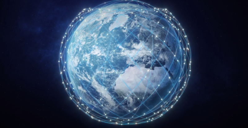 Telesat Lightspeed Animation of connectivity lines and points over a globe.