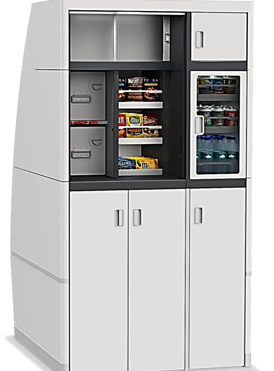 Switch galley mockup stocked with snacks and beverages.