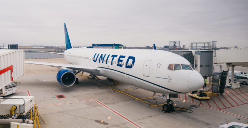 United Airlines Boeing 767 at the gate