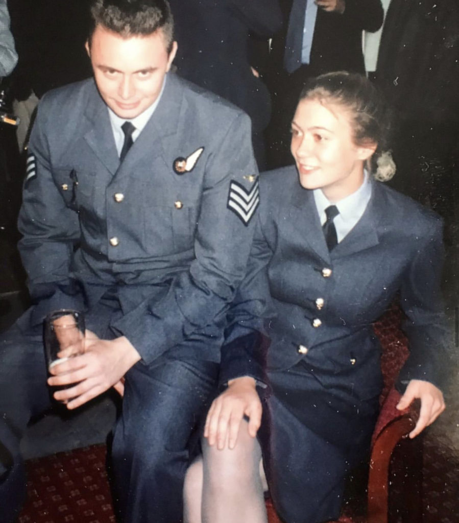 Catterall just out of initial training, with her older brother, Andrew. Both are in RAF uniforms.