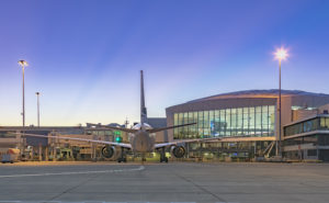Sydney Airport aircraft ramp at sunrise.