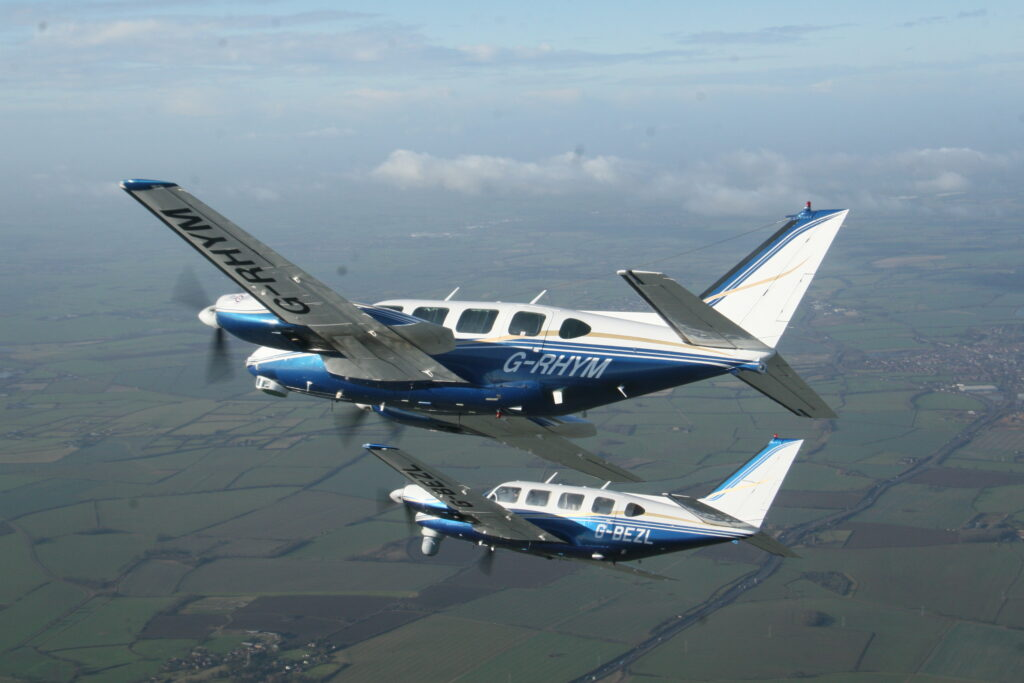 2Excel Geo has two Piper PA-31 Navajo sensor platforms available. Seen here flying above the British countryside. (2Excel Aviation)