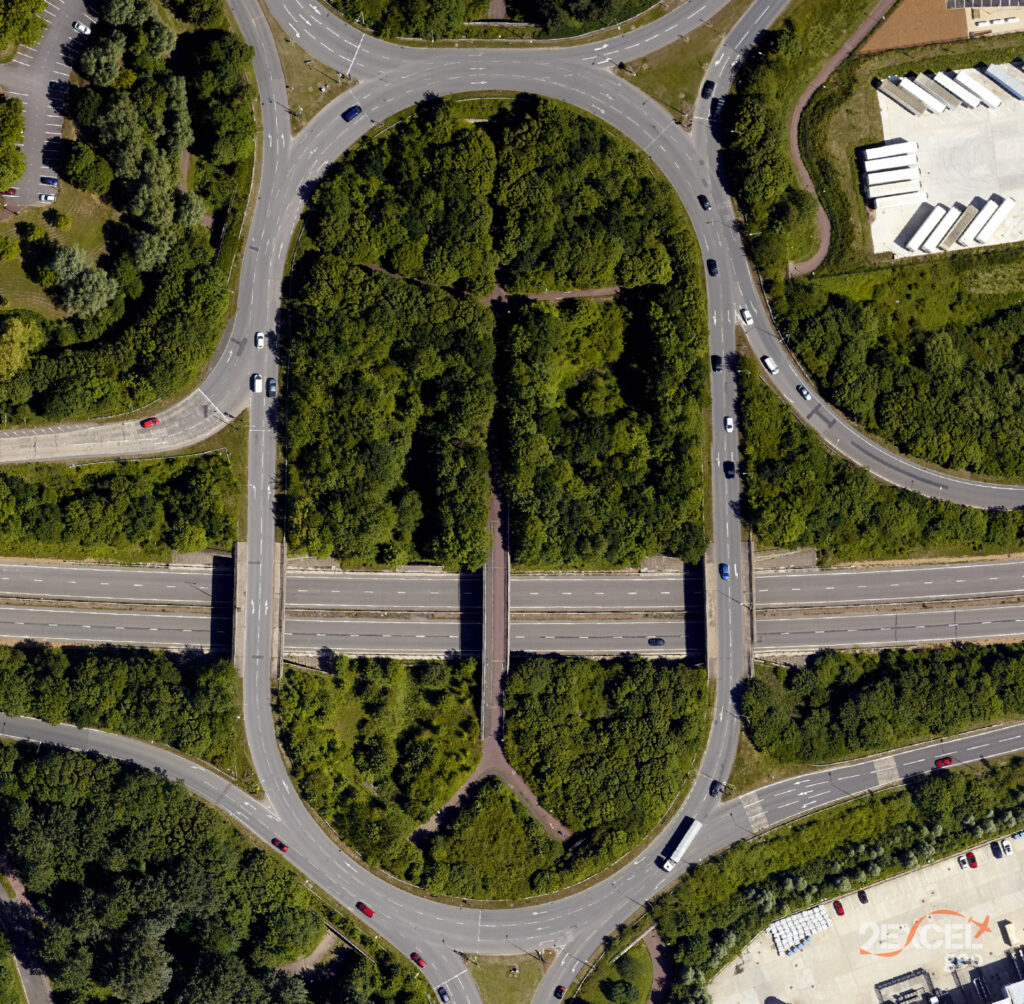 'Conventional' optical imagery also has a role to play in 2Excel Geo's work. This road network and surrounding vegetation are in Milton Keynes, Buckinghamshire. (2Excel Geo)