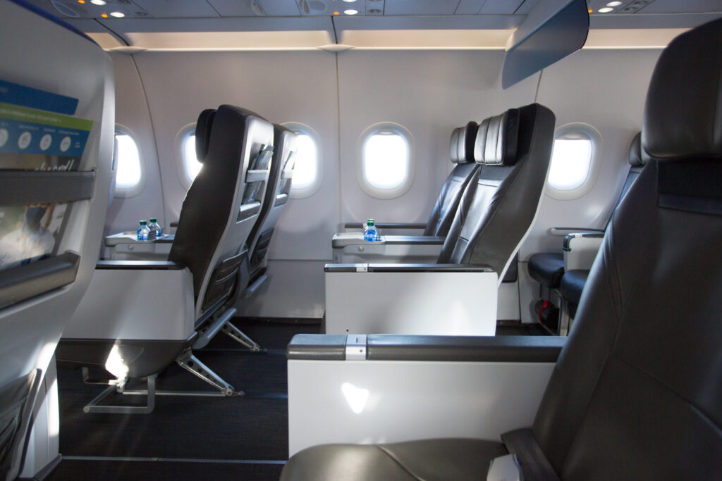 Alaska Airlines' first class seating, as shown from the side