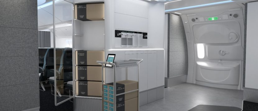 AIM Altitude ARCA galley showing boxes stacked in a refrigerated unit in the galley