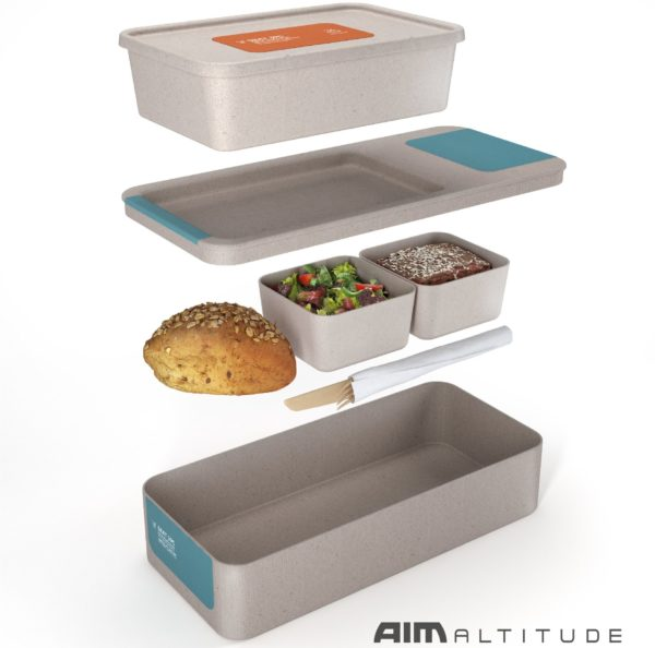It's stackable - the ARCA boxed meal features a hot meal on the top layer, and cold food (a roll, salad and dessert) in a lower layer of the box