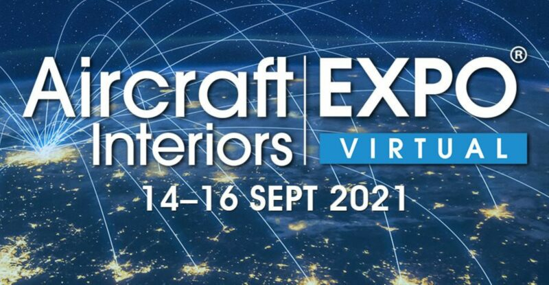 Conceptual connectivity background with the Aircraft Interiors (AIX) EXPO logo on top