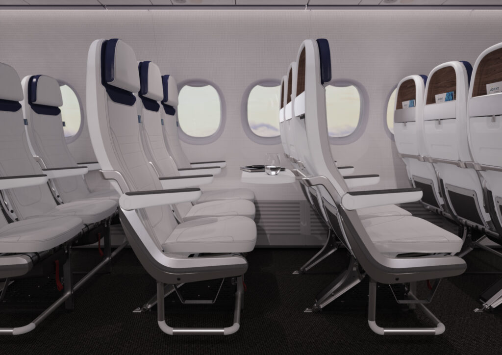 Adient Aerospace Ovation B737 version all in white with blue headrests